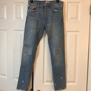 Zara Patchwork High Waisted Distressed Jeans